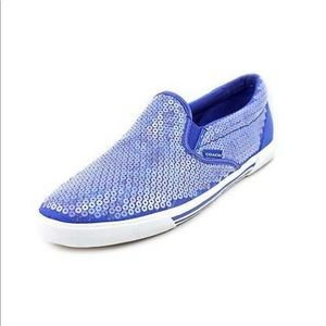 Coach Kivy Sequin Blue Slip-On Sneakers-Size 6.5